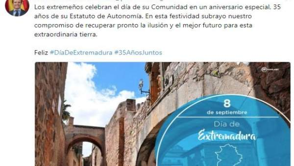 Pablo Casado felicita a los extremeños