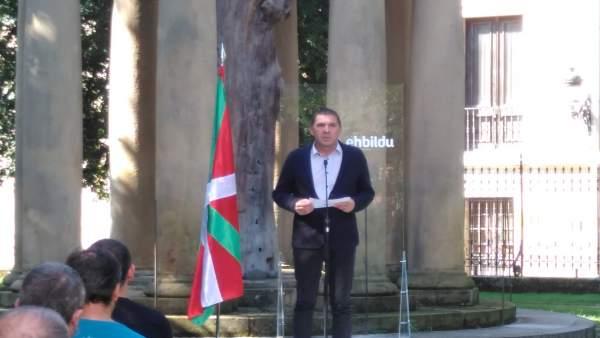 Arnaldo Otegi, en la Casa de Juntas de Gernika