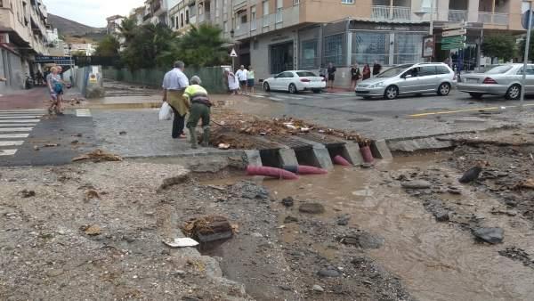 Incidencia por la lluvia en La Herradura (Granada)