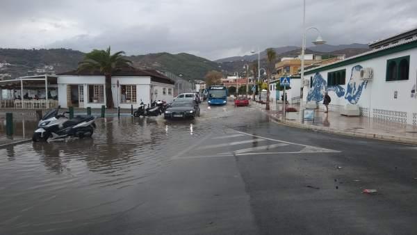 Efectos de la lluvia en Almuñécar-La Herradura (Granada)
