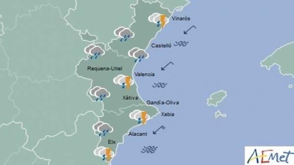 Predicción de Aemet para la Comunitat Valenciana del 9 de septiembre de 2018