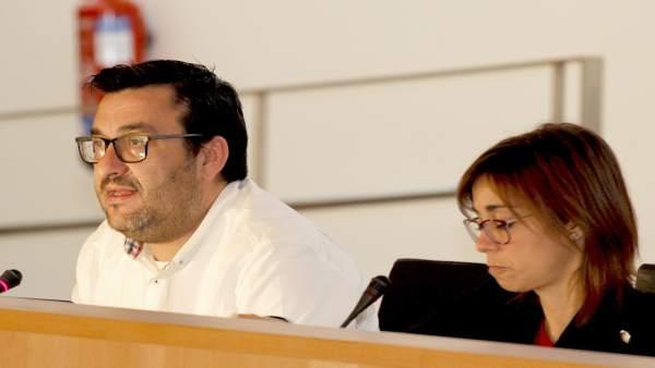Los diputados provinciales de IU Guzmán Ahumada y Teresa Sánchez pleno diciembre