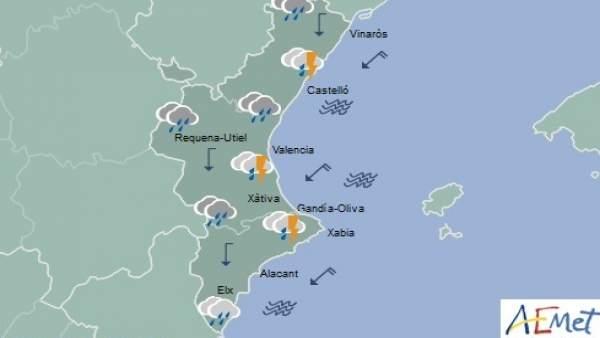 La Comunitat Valenciana està en alerta taronja per fortes pluges que poden deixar 40 l/m2