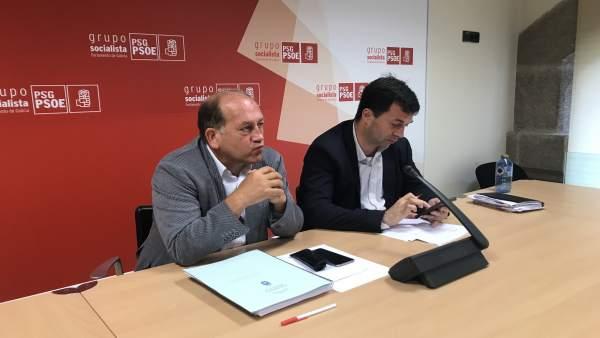 El secretario xeral del PSdeG, Gonzalo Caballero, en rueda de prensa
