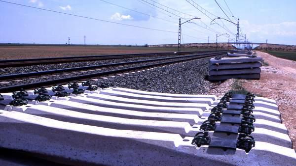 Imagen de archivo de traviesas de tren