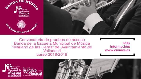 Cartel pruebas de acceso Escuela Municipal de Música de Valladolid 10-9-2018