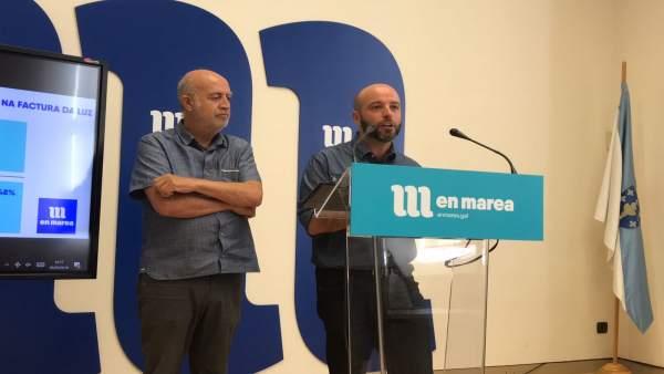 Luís Villares y Pancho Casal, en rueda de prensa de En Marea este lunes