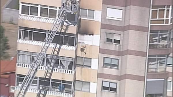 Foto tomada por la Policía Nacional del incendio en Vigo