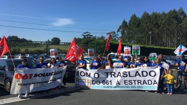 Protesta trabajadores 061 por el traslado