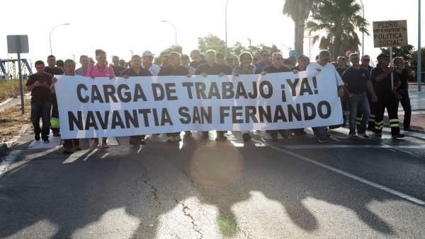 Trabajadores de astilleros de San Fernando en protesta