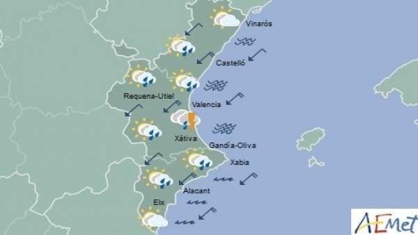 La Comunitat Valenciana segueix aquest dimarts en avís groc per pluges que poden deixar 20 l/m2