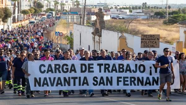 Segunda jornada de movilización de Astilleros de San Fernando (Cádiz)