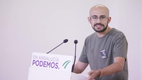 Pablo Pérez Ganfornina, de Podemos Andalucía, en rueda de prensa