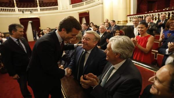 El presidente del PP, Pablo Casado, preside la reunión del Grupo Popular en el S