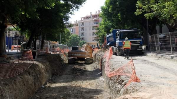 Obras, calle, Estepona
