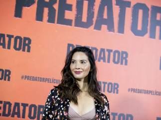 La actriz Olivia Munn, durante la presentación en Madrid de 'The Predator'.