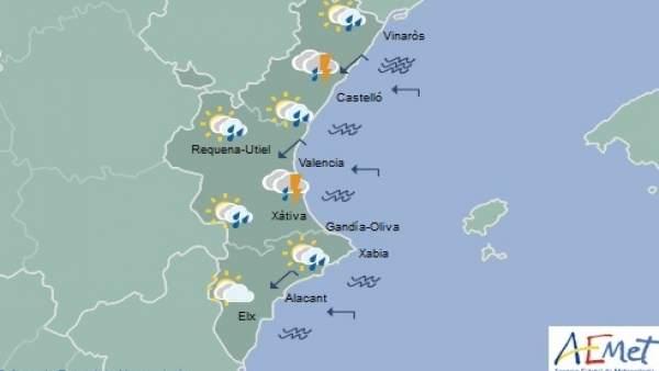 Castelló i el litoral de València segueixen en avís groc per fortes pluges