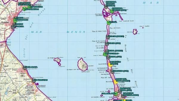 Mapa banderas playas