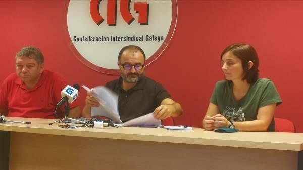 Rueda de prensa de CIG-Ensino, con Suso Bermello.