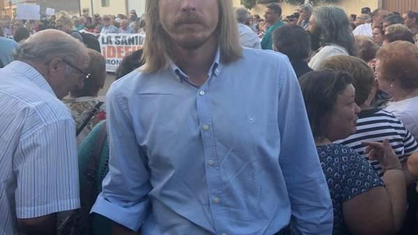 El secretario general de Podemos, Pablo Fernández, en la manifestación 12-9-18
