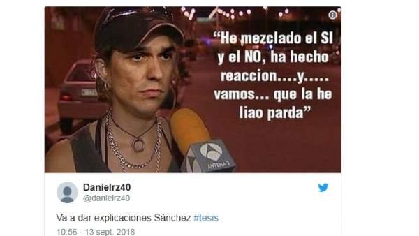 Memes de la tesis de Pedro Sánchez