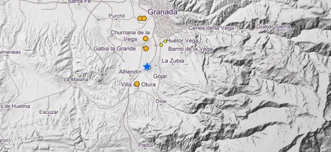 Epicentro del seísmo en Granada