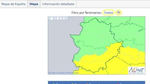 Alerta amarilla por tormentas