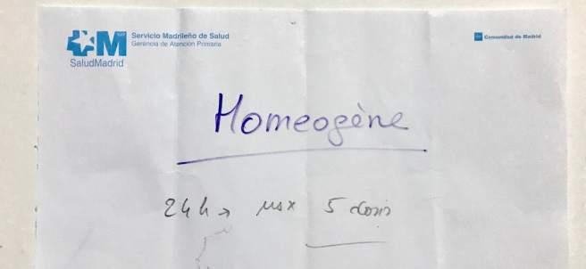 Receta de un producto homeopático