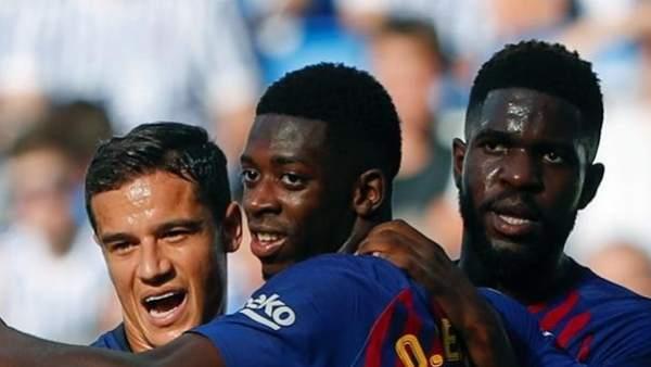 Dembélé, Coutinho y Umtiti.