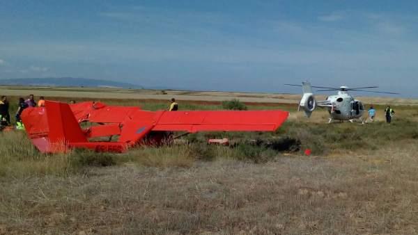 Accidente de una avioneta en Tudela