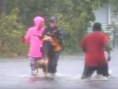 Interrumpe su reportaje en directo en una zona inundada por Florence para rescatar a un perro