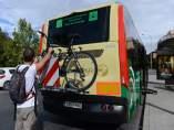 Portabicicletas en línea de bus interurbana