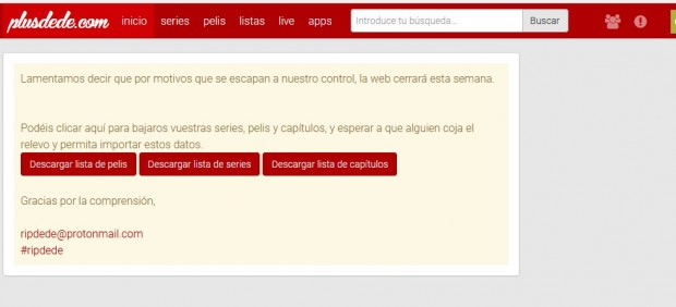 La web de 'streaming pirata' Plusdede cierra definitivamente su página