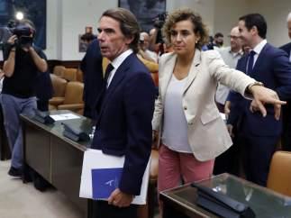 Aznar, antes de su comparecencia en el Congreso