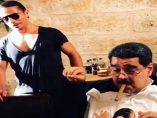 Maduro cena en un restaurante de lujo