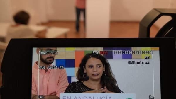 Zoe Arcanio, de Podemos Andalucía, en rueda de prensa