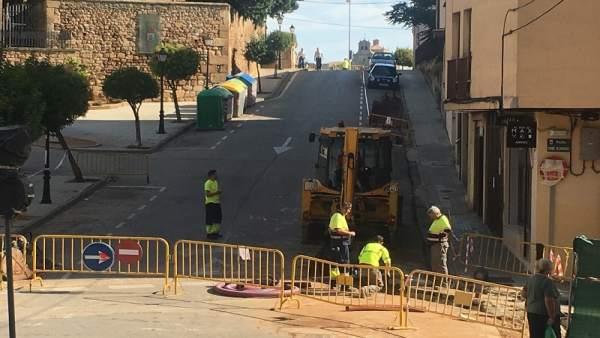 Nueva pavimentación de la calle Calixto Pereda de Soria. 18-9-18