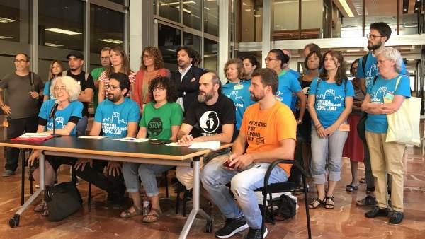 Rueda de prensa de Favb, Sindicat de Llogaters, Pah, Abts y Desc.