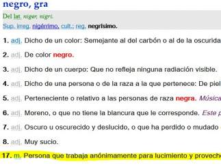 Definición de negro