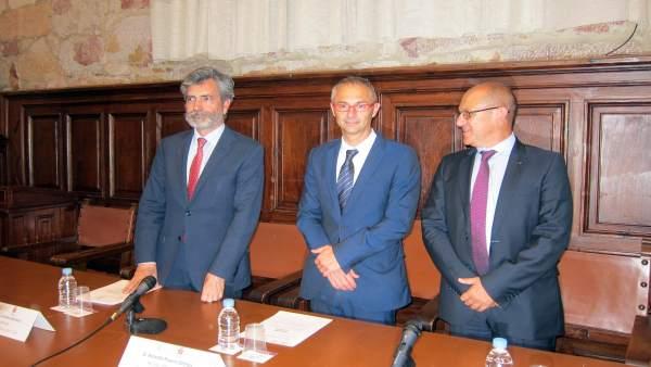 Carlos Lesmes, Ricardo Rivero y Fernando Carbajo, de izquierda a derecha