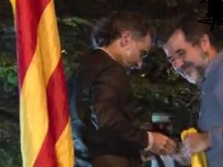 Jordi Cuixart y Jordi Sànchez, el 20-S de 2017 ante Economía.