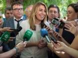 Susana Díaz durante las declaraciones a los medios
