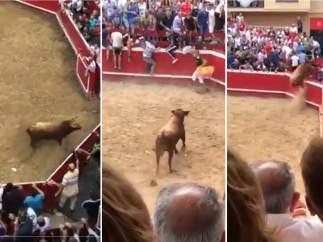 Un toro logra escapar del ruedo y causa pánico en su huida en las fiestas de Villafranca