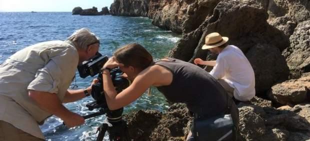 Turistas rodando una película en Mallorca