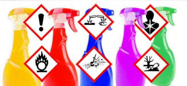 Productos limpieza para el hogar y etiquetado.