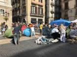 Acampada independentista de la plaza Sant Jaume de Barcelona.