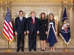 Saludo protocolario entre Pedro Sánchez y Trump a la víspera de la Asamblea General de la ONU