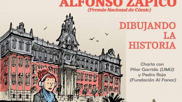 Cartel del encuentro con el dibujante e ilustrador Alfonso Zapico