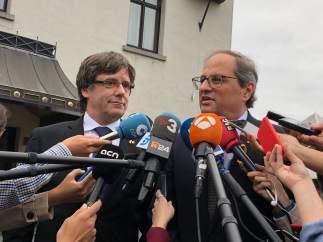 Quim Torra y Carles Puigdemont en Waterloo, Bélgica.