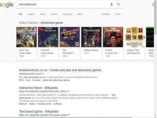 Juego textual escondido en el código fuente de Google.